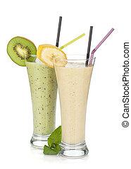 Kiwi und Bananenmilch-Smoothie