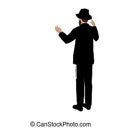 klage, schöpfung, gebot, g-d, aufmerksam, symbolisiert, glaube, vector., uhren, gemälde, jüdisch, steht, admiration., hintergrund, hut, tragen, positiv, bunte, 1., chassid, mann, weißes
