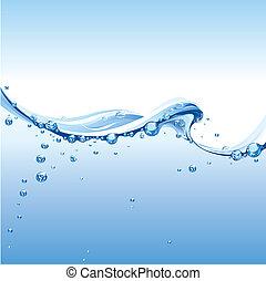 Klare Wasserwelle mit Blasen