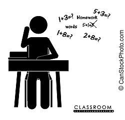 Klassenzimmer, Desing, Vektorgrafik.