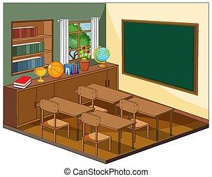 klassenzimmer, elemente, leerer , inneneinrichtung
