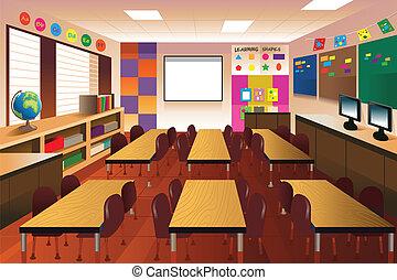 klassenzimmer, grundschule, leerer