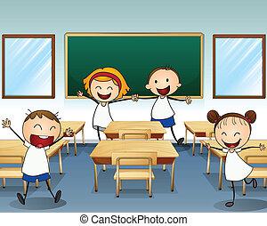 klassenzimmer, innenseite, kinder, proben