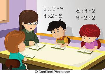 klassenzimmer, lehrer, schueler