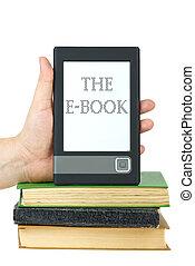 klassisch, oberseite, hand, papier, buecher, leser, stellen, e-book