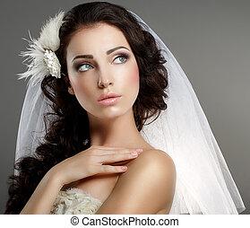 klassisch, weg, ruhig, junges schauen, sanft, wedding., weißes, schleier, braut