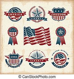 Klassische amerikanische Labels sind aufgestellt