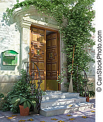 Klassische Haustür mit Treppen.