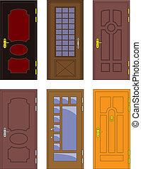 Klassische Innen- und Vorholztüren - Vektor