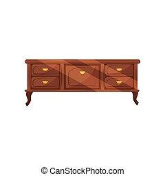 Klassische Schubladen mit goldenen Griffen. Vintage-Möbel. Antique Kommode für Schlafzimmer. Flat Vektordesign