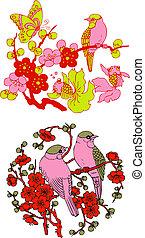 Klassisches chinesisches Baum-Emblem