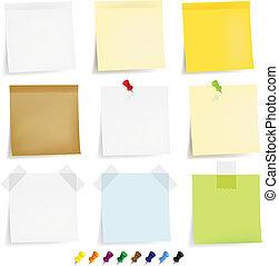 Klebige Papiere bereit