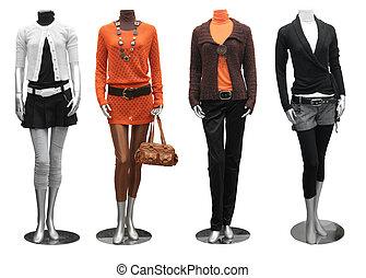 kleiden, schaufensterpuppen, mode