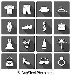 Kleider Accessoire-Schuh-Icons Set.