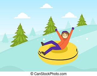 kleidung, reiten, angezogene , junge, tätigkeiten, schneien sport, begriff, vektor, abbildung, winter, rohr