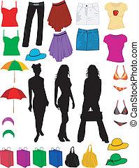 Kleidung und Modezubehör.