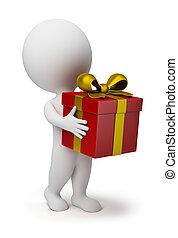 klein, 3d, -, geschenk, leute