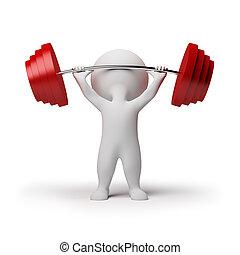 klein, -, 3d, weightlifting, leute