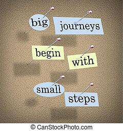 klein, groß, beginnen, schritte, reisen