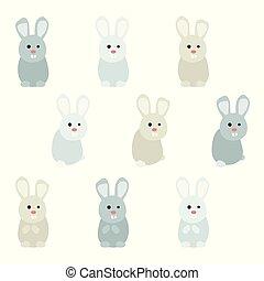klein, kaninchen, satz