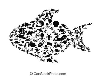 klein, leben, fische, meer, gefüllt