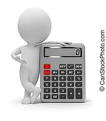 klein, taschenrechner, 3d, -, leute