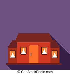 Kleine braune Hütte, flache Ikone.