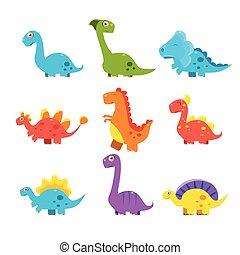 Kleine bunte Dinosaurier-Set. Nette Vektorsammlung