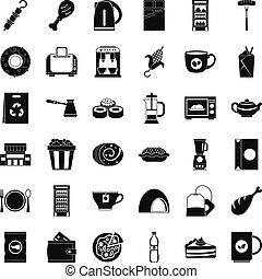 Kleine Café Icons Set, einfache Stil