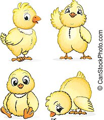 Kleine flauschige Hühner