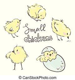 Kleine gelbe Hühner. Hübsche Figuren.