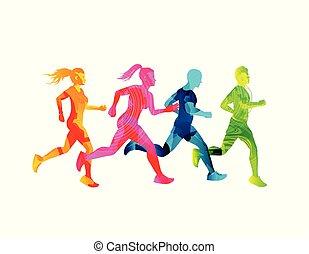 Kleine Gruppe laufender Männer und Frauen