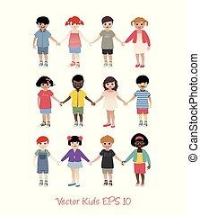 Kleine, isolierte Kinder, die Händchen halten.