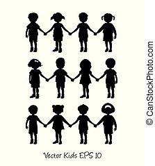 Kleine Kinder-Silhouetten, die Händchen halten.