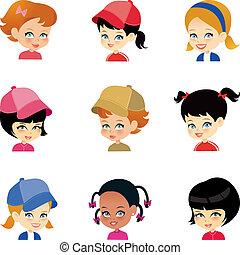 Kleine Mädchen-Zeichen-Gesichter