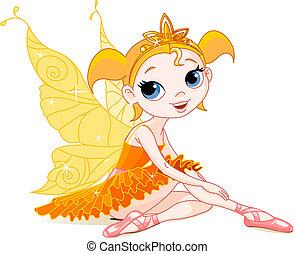 Kleine orangene Feen-Ballerina