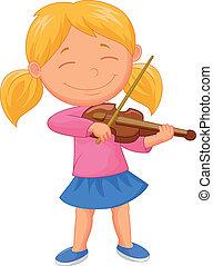 Kleine Zeichentrickfigur, die Violine spielt.