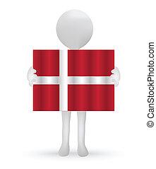 Kleiner 3D Mann mit dänischer Flagge.