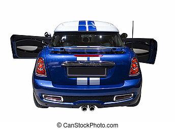 Kleiner blauer Sportwagen isoliert.