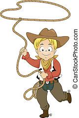 Kleiner Cowboy mit Seil