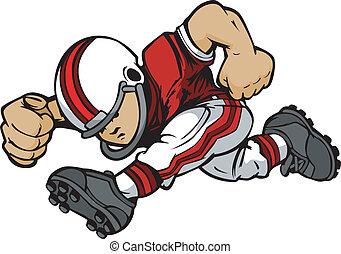 Kleiner Footballspieler, der Vektor-Cartoon läuft.