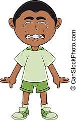 Kleiner Junge, der Cartoon weint.