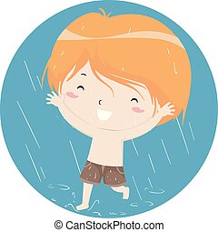 Kleiner Junge, der im Regen spielt.