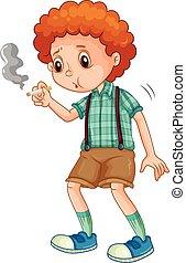 Kleiner Junge, der versucht, eine Zigarette zu rauchen.