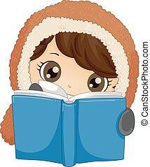 Kleiner Junge eskimo liest Buch Illustrationen.