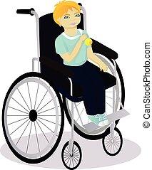 Kleiner Junge mit Behinderungen im Rollstuhl hat eine Medaille.