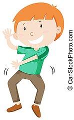 Kleiner Junge tanzt allein.