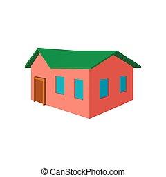 Kleines Cottage Cartoon Icon.