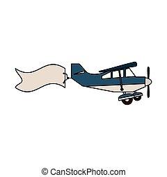 Kleines Flugzeug mit Banner.