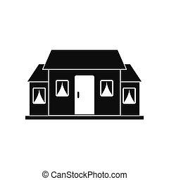 Kleines Häuschen, schwarzes Ikone.